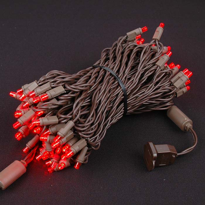 Picture of Commercial Grade Wide Angle 100 LED Red 50' Long Brown Wire