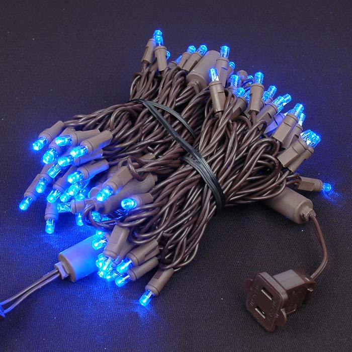 Picture of Commercial Brown Wire Wide Angle 100 LED Blue 34' Long