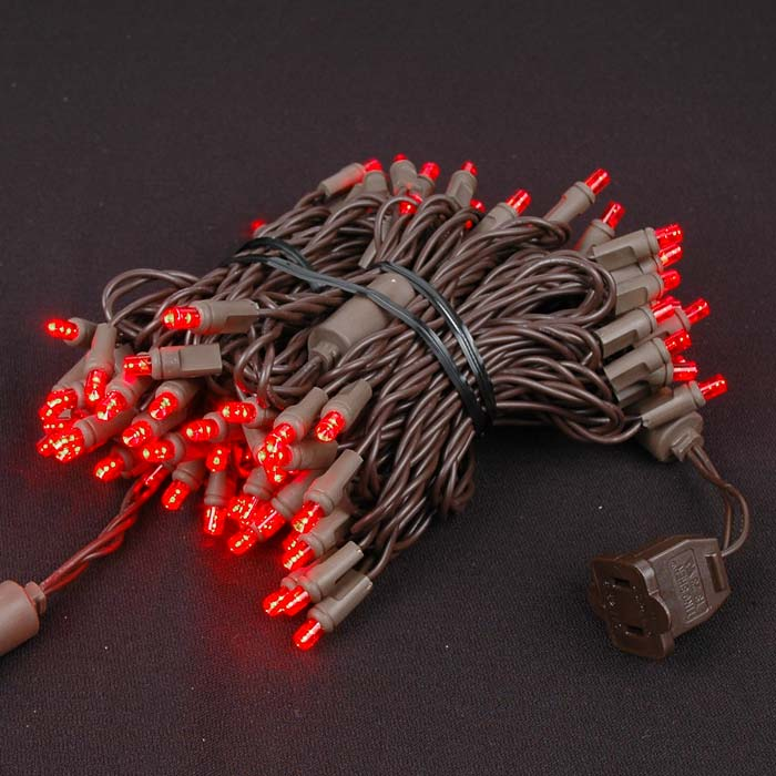 Picture of Commercial Brown Wire Wide Angle 100 LED Red 34' Long