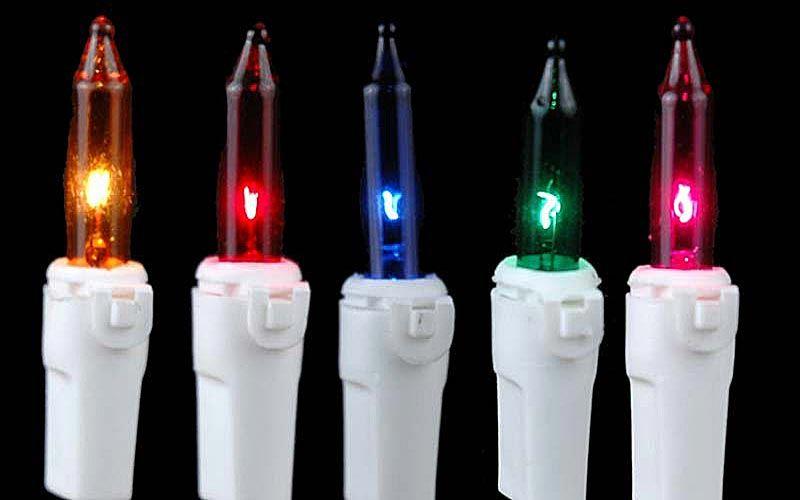 Multi Colored Christmas Mini Lights On White White