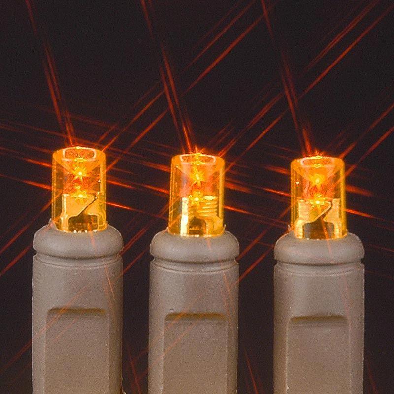 Brown Wire Wide Angle Orange/Amber 50 Bulb LED Christmas Lights Sets - Novelty Lights Inc