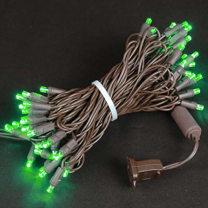 Picture of 50 LED Green LED Christmas Lights on Brown Wire