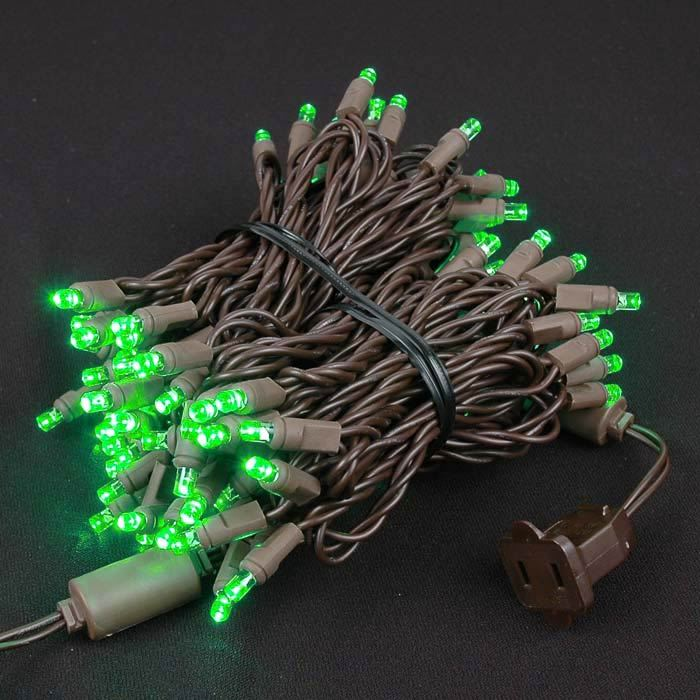 Picture of Commercial Brown Wire Wide Angle 100 LED Green 34' Long