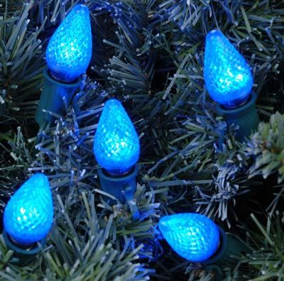 Blue LED C7 Outdoor String Light Set on White Wire - Novelty Lights, Inc