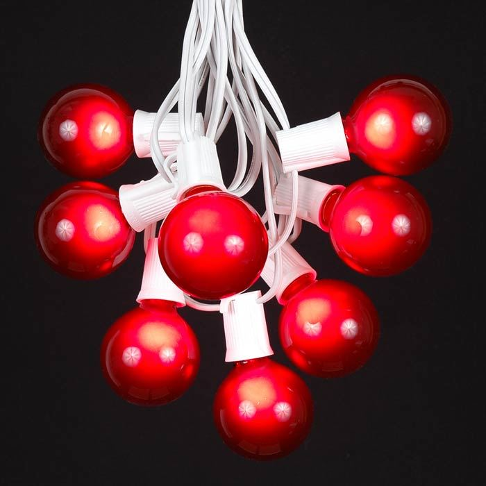 Picture of 25 G50 Globe Light String Set with Red Bulbs on White Wire