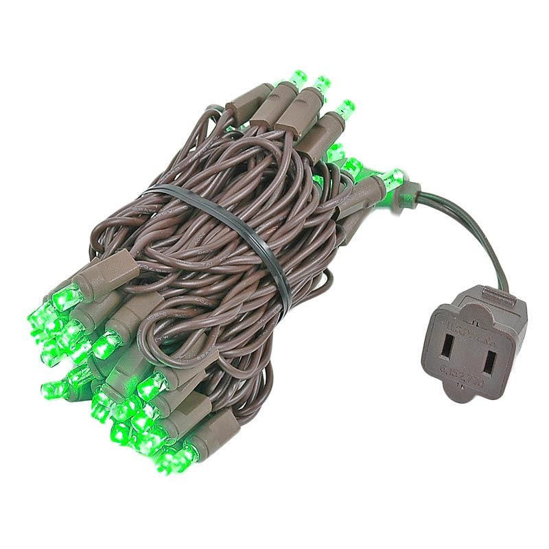 Picture of 50 LED Green, Brown Wire LED Christmas Lights 11' Long