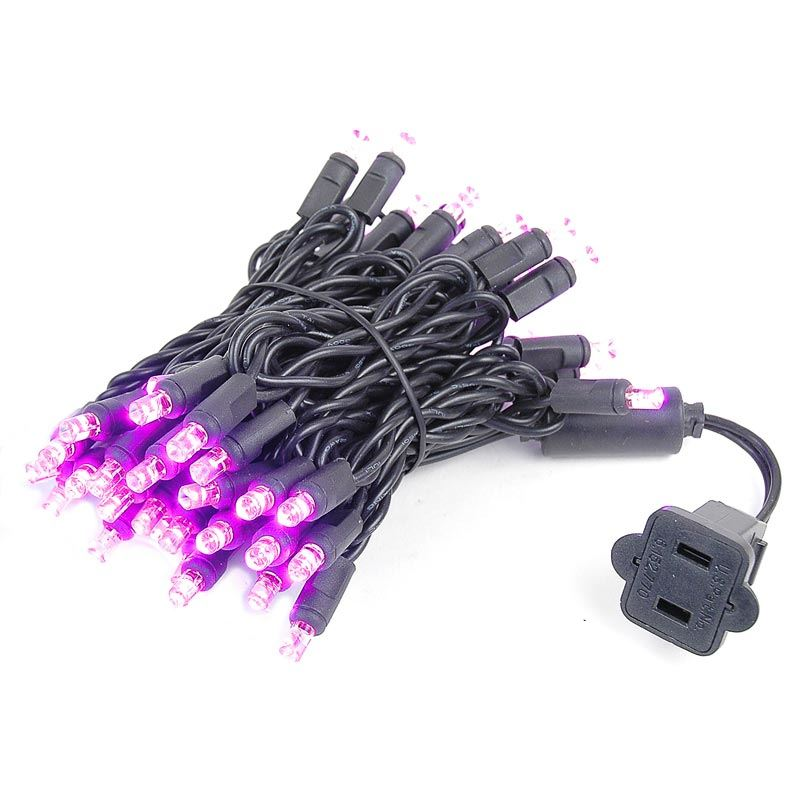 Picture of 50 LED Pink, Black Wire LED Christmas Lights 11' Long