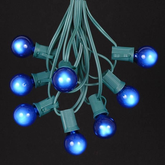 Picture of 25 G30 Globe Light String Set with Blue Bulbs on Green Wire