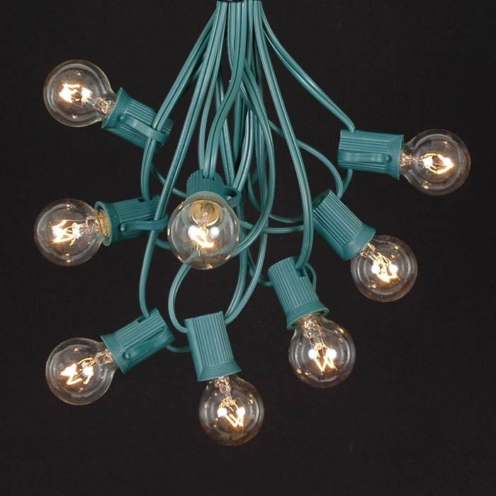 Picture of 25 G30 Globe Light String Set with Clear Bulbs on Green Wire