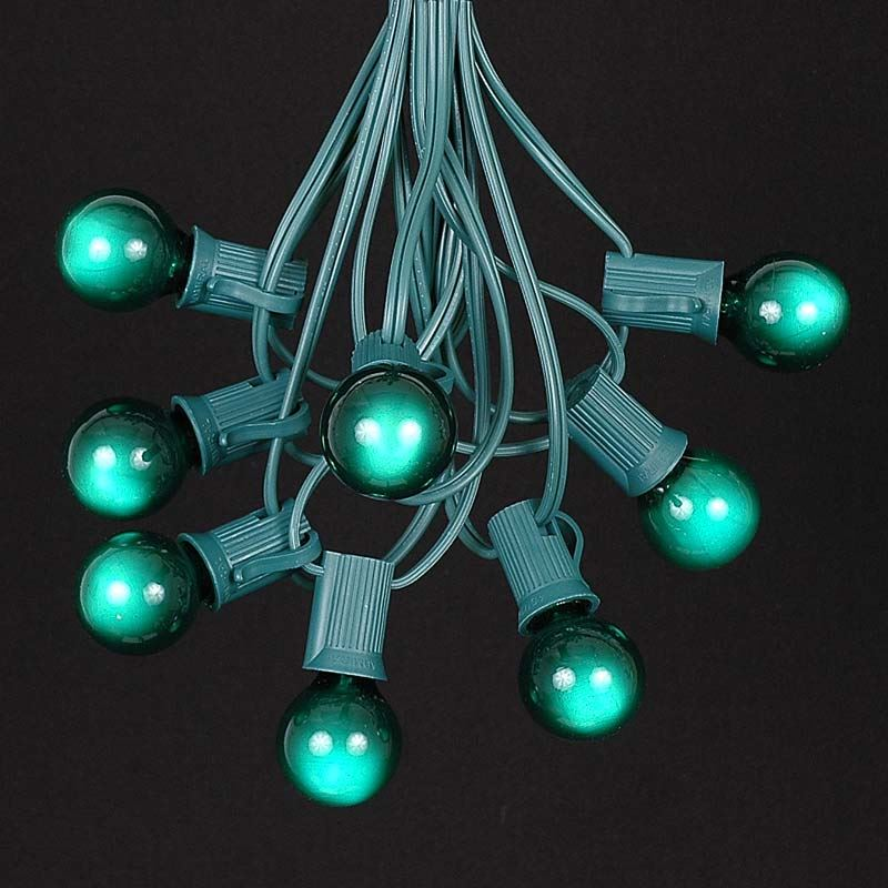 Green Satin G30 Globe/Round Outdoor String Light Set on Green Wire - Novelty Lights, Inc
