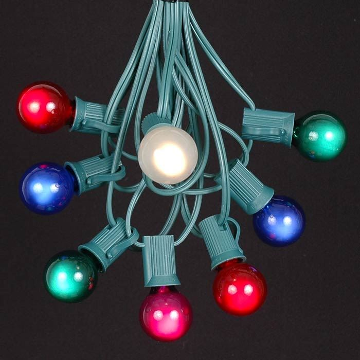 Picture of 25 G30 Globe Light String Set with Multi Bulbs on Green Wire