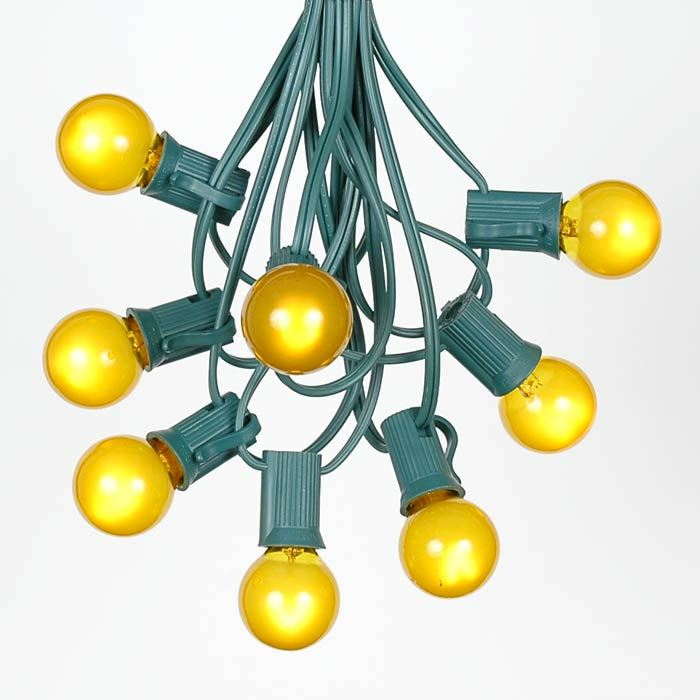Yellow Globe String Lights : Yellow Satin G30 Globe/Round Outdoor String Light Set on Green Wire - Novelty Lights, Inc