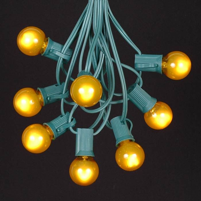 Picture of 25 G30 Globe Light String Set with Yellow/Gold Bulbs on Green Wire
