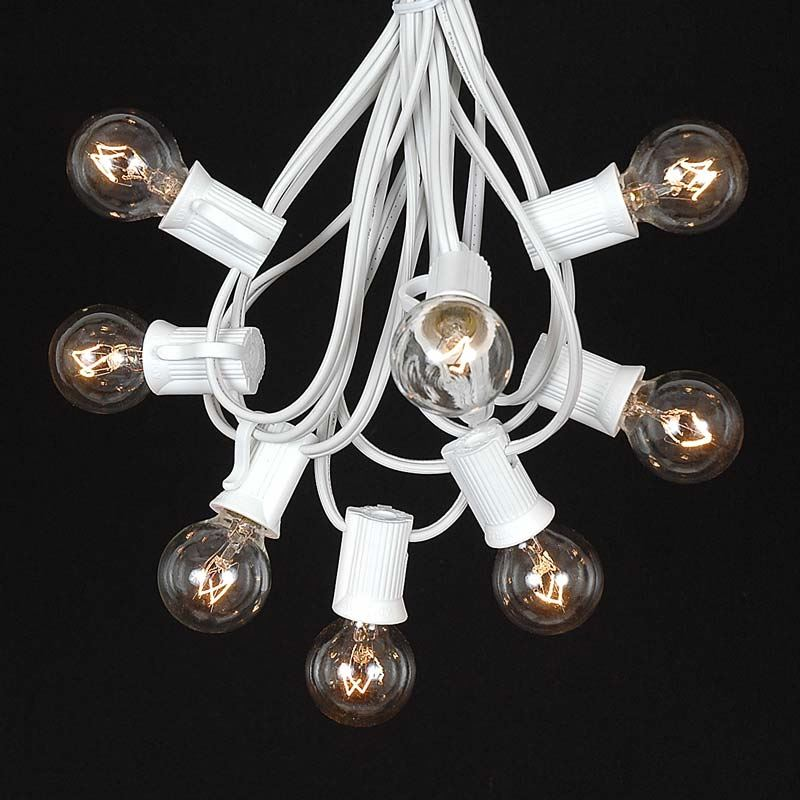 Frosted White G30 Globe/Round Outdoor String Light Set on White Wire - Novelty Lights, Inc
