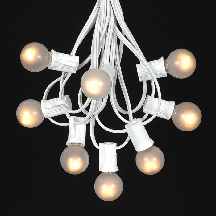 White String Garden Lights : Frosted White G30 Globe/Round Outdoor String Light Set on White Wire - Novelty Lights, Inc