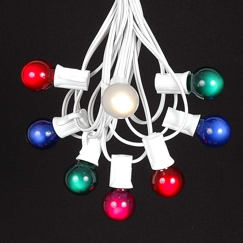 Picture of 25 G30 Globe Light String Set with Multi Bulbs on White Wire