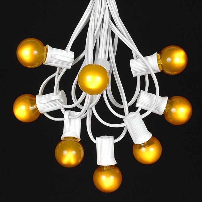 Picture of 25 G30 Globe Light String Set with Yellow/Gold Bulbs on White Wire