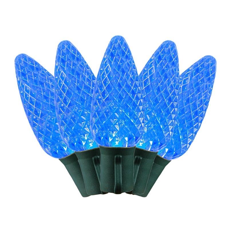 Commerical Grade LED C9 Light Sets with Blue Bulbs - Novelty Lights Inc