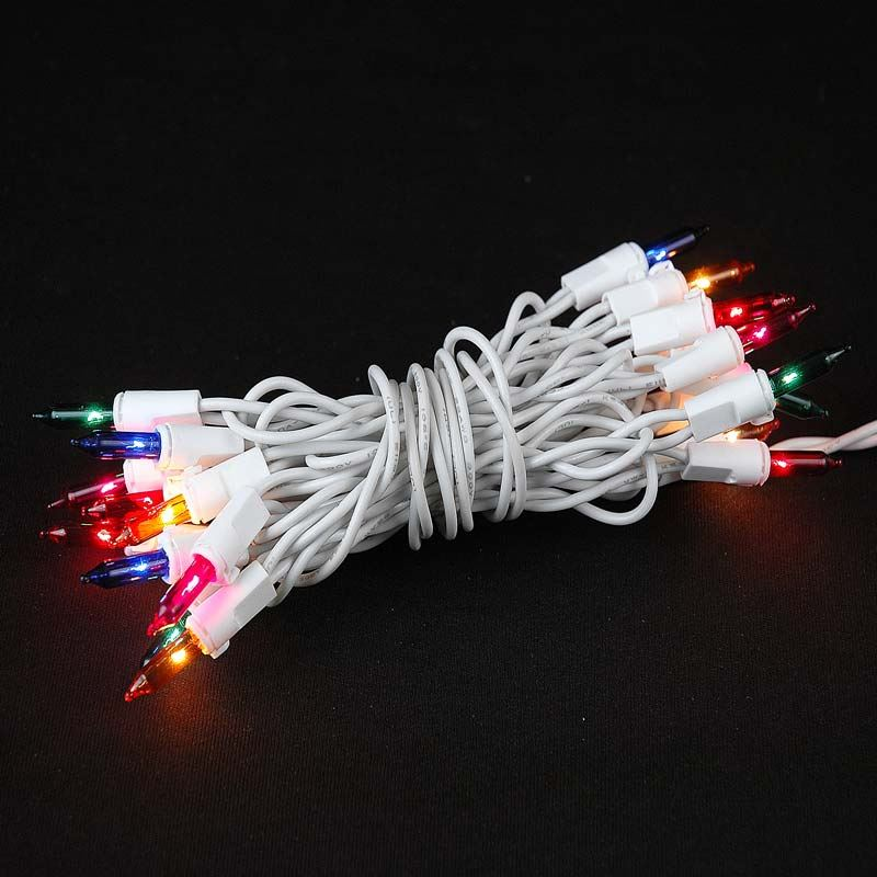 Picture of Non Connectable Multi (assorted) White Wire Mini Lights 20 Light 8.5'