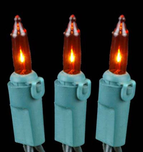 Amber Non Connectible Christmas Mini Light Sets 20 Light Green Wire - Novelty Lights, Inc