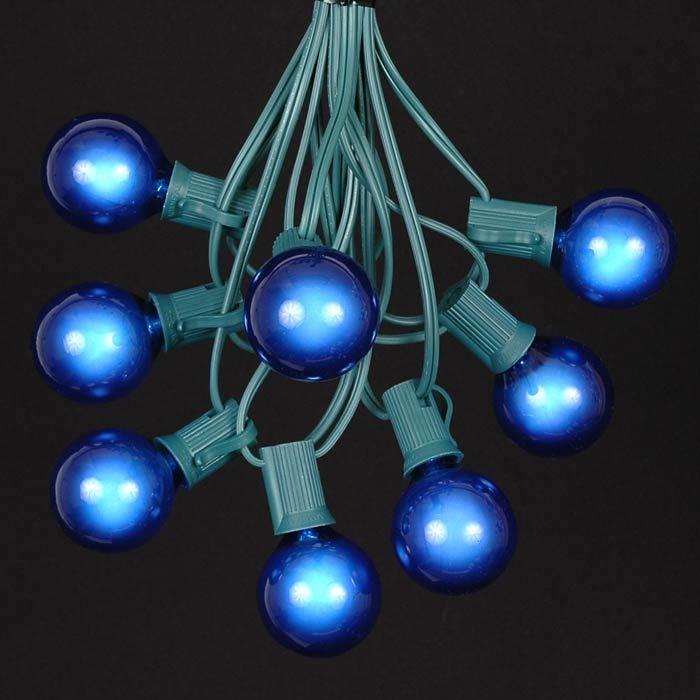 Light Globe String Lights : Blue G40 Globe/Round Outdoor String Light Set on Green Wire - Novelty Lights, Inc