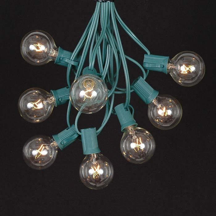 Picture of 25 G40 Globe String Light Set with Clear Bulbs on Green Wire