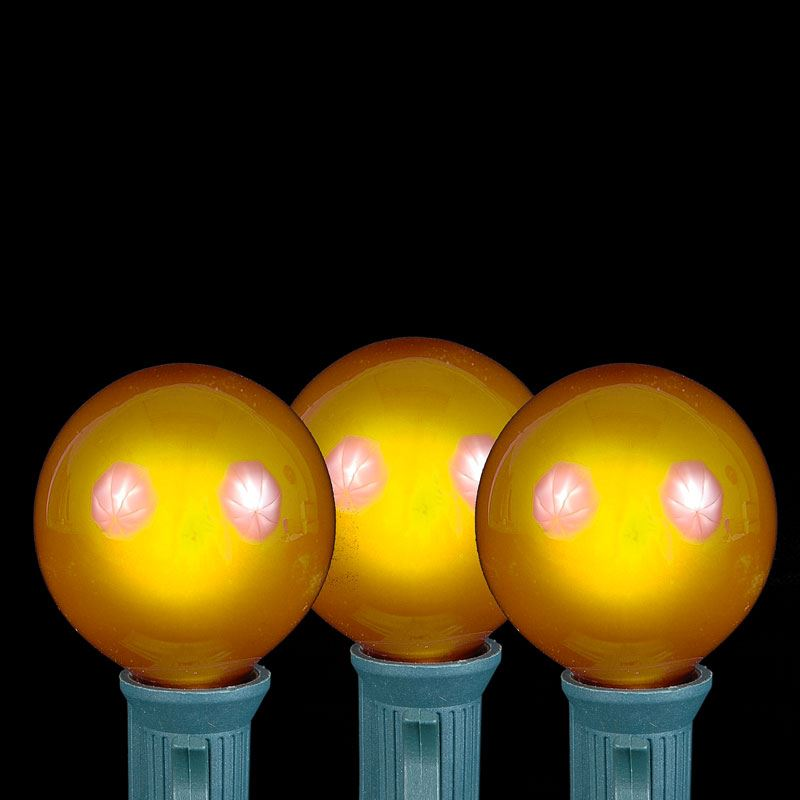 Yellow G40 Globe/Round Outdoor String Light Set on Green Wire - Novelty Lights, Inc