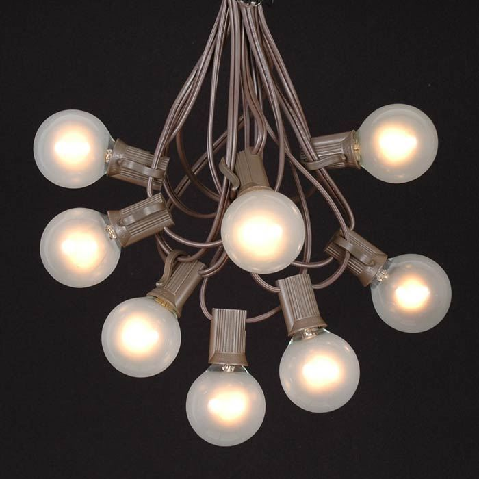 Picture of 25 G40 Globe String Light Set with Frosted White Bulbs on Brown Wire