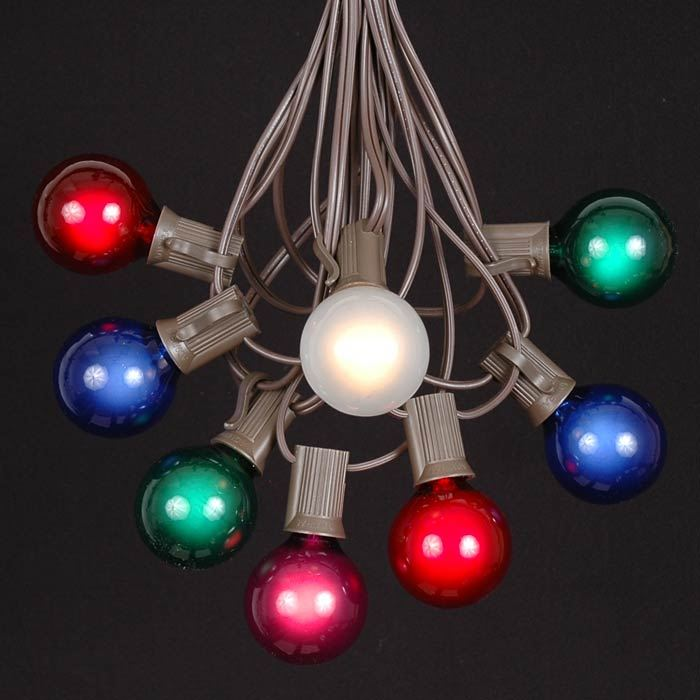 Colored Patio String Lights : Multi Colored G40 Globe/Round Outdoor String Light Set on Brown Wire - Novelty Lights, Inc
