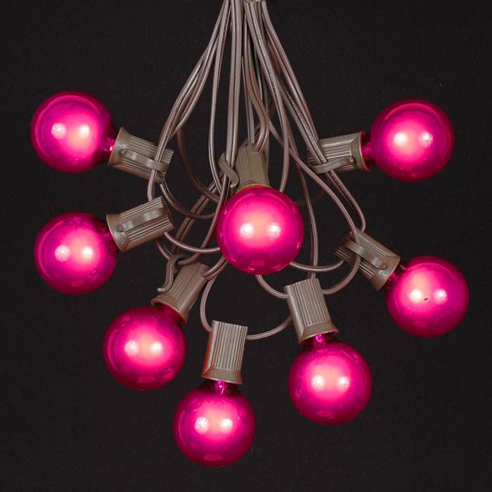 Picture of 25 G40 Globe String Light Set with Pink Bulbs on Brown Wire