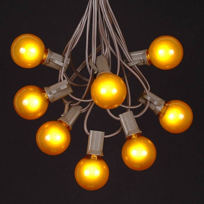 Yellow Led String Lights : Yellow G40 Globe/Round Outdoor String Light Set on Brown Wire - Novelty Lights, Inc