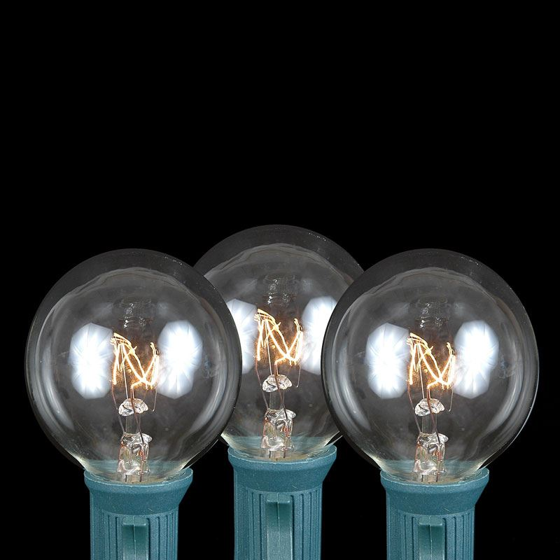 Clear G40 Globe/Round Outdoor String Light Set on Black Wire - Novelty Lights, Inc