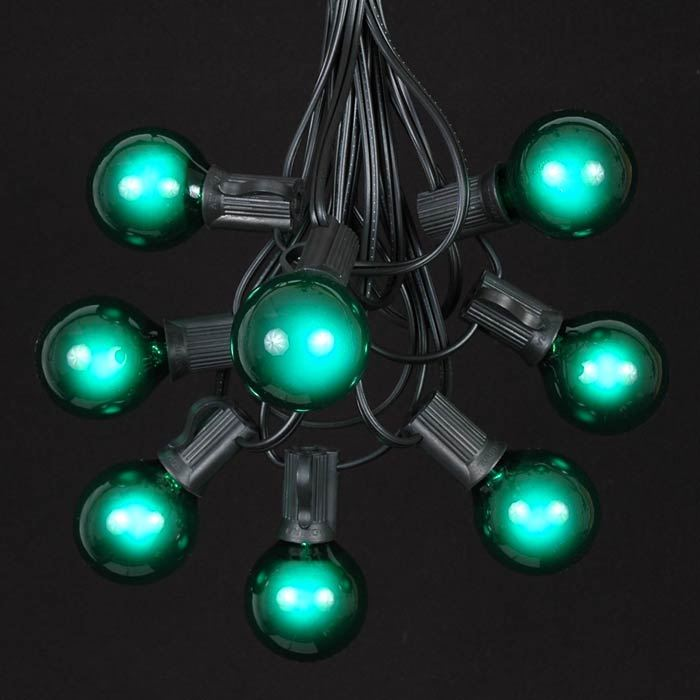 Picture of 25 G40 Globe String Light Set with Green Bulbs on Black Wire