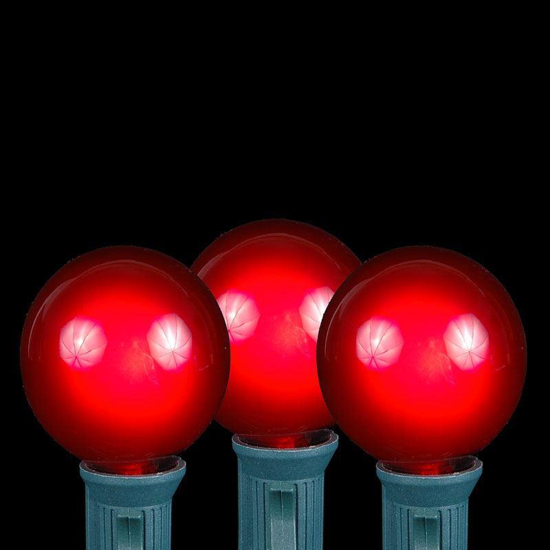 100 Red G40 Globe/Round Outdoor String Light Set on Black Wire - Novelty Lights, Inc