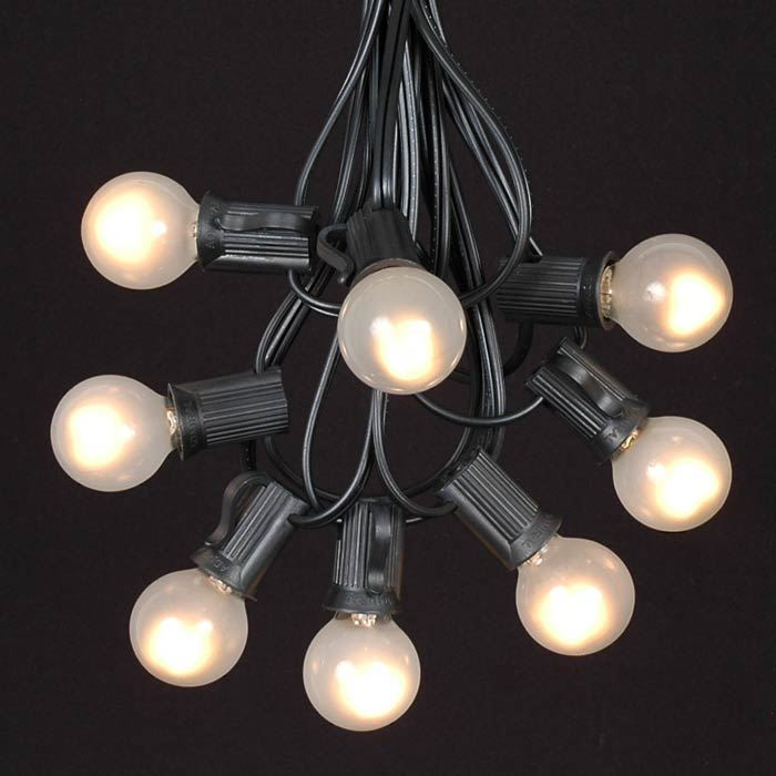 Picture of 25 G30 Globe Light String Set with Frosted White Bulbs on Black Wire