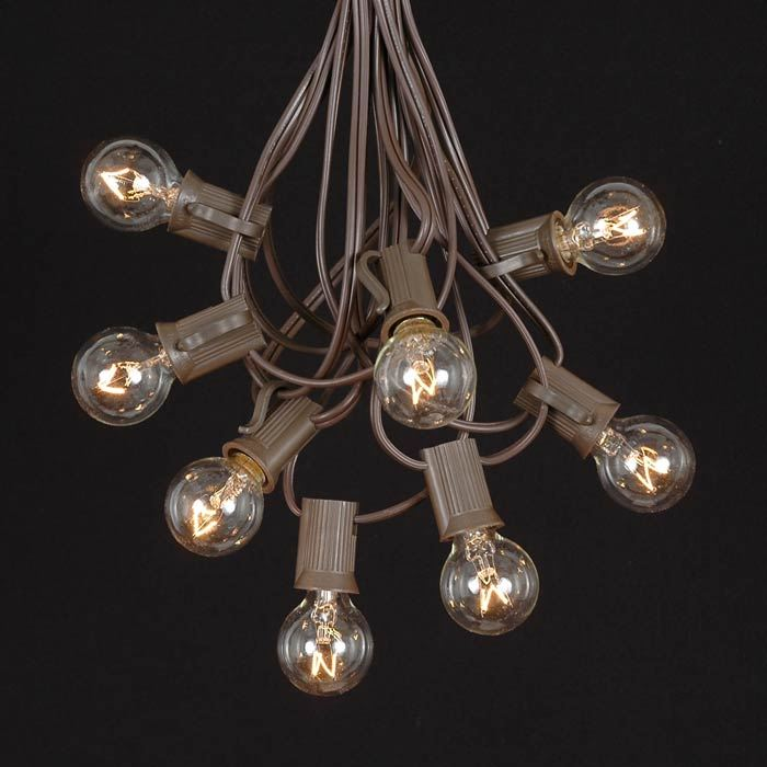 Clear G30 Globe/Round Outdoor String Light Set on Brown Wire - Novelty Lights, Inc
