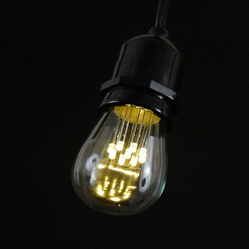 25 Warm White LED S14 Heavy Duty String Light Sets on Brown Wire - Novelty Lights, Inc