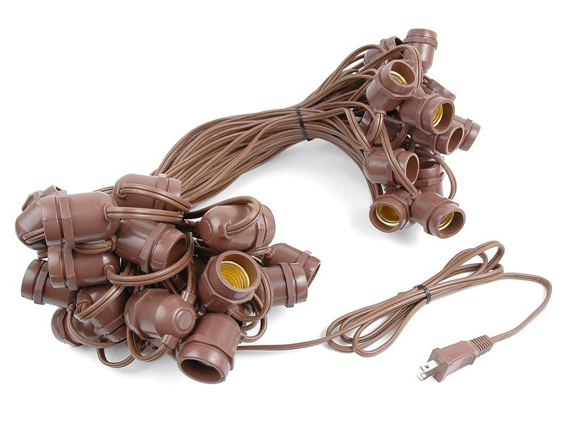 50 Warm White LED S14 Heavy Duty String Light Sets on Brown Wire - Novelty Lights, Inc