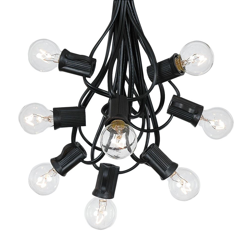 Picture of 100 G30 Globe String Light Set with Clear Bulbs on Black Wire