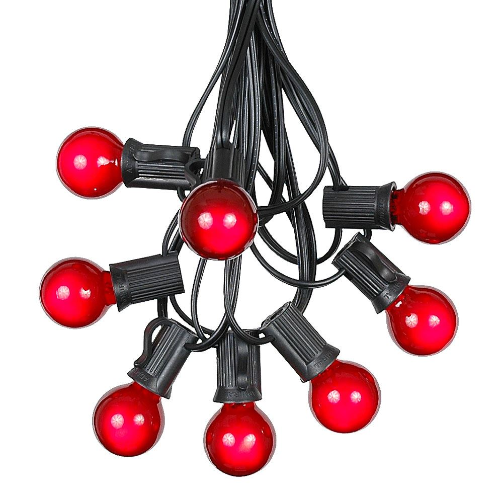 Picture of 100 G30 Globe String Light Set with Red Bulbs on Black Wire