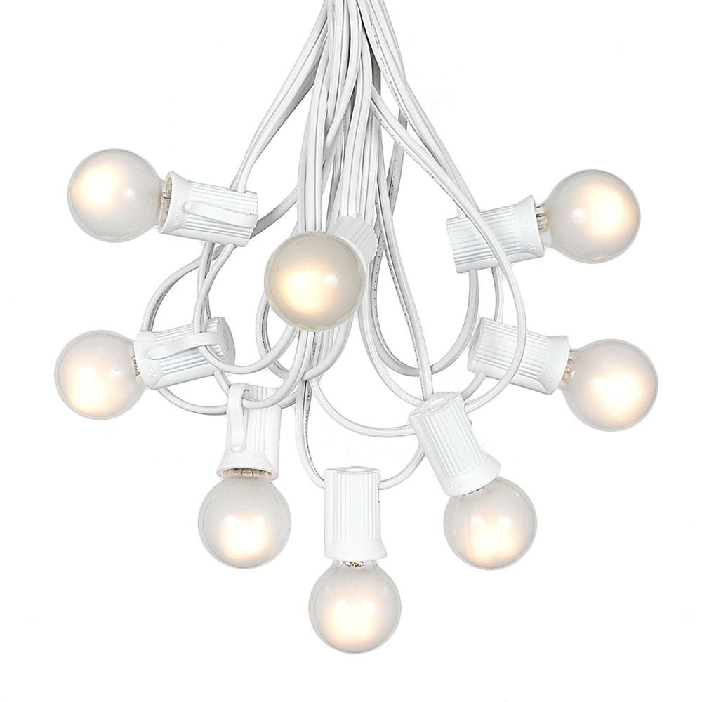 Picture of 100 G30 Globe String Light Set with Frosted White Bulbs on White Wire