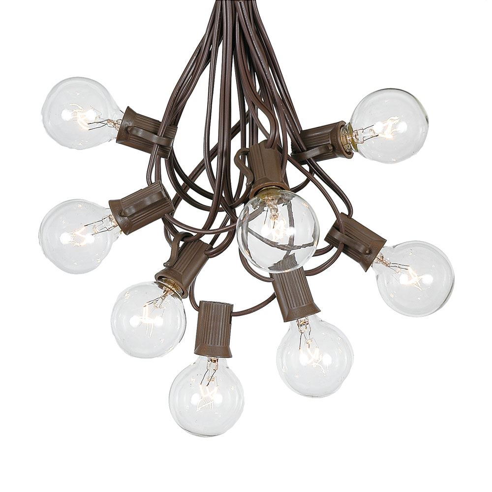 Picture of 100 G40 Globe String Light Set with Clear Bulbs on Brown Wire