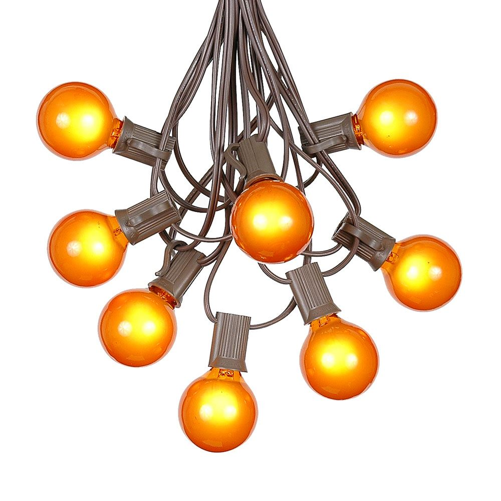 Picture of 100 G40 Globe String Light Set with Orange Bulbs on Brown Wire