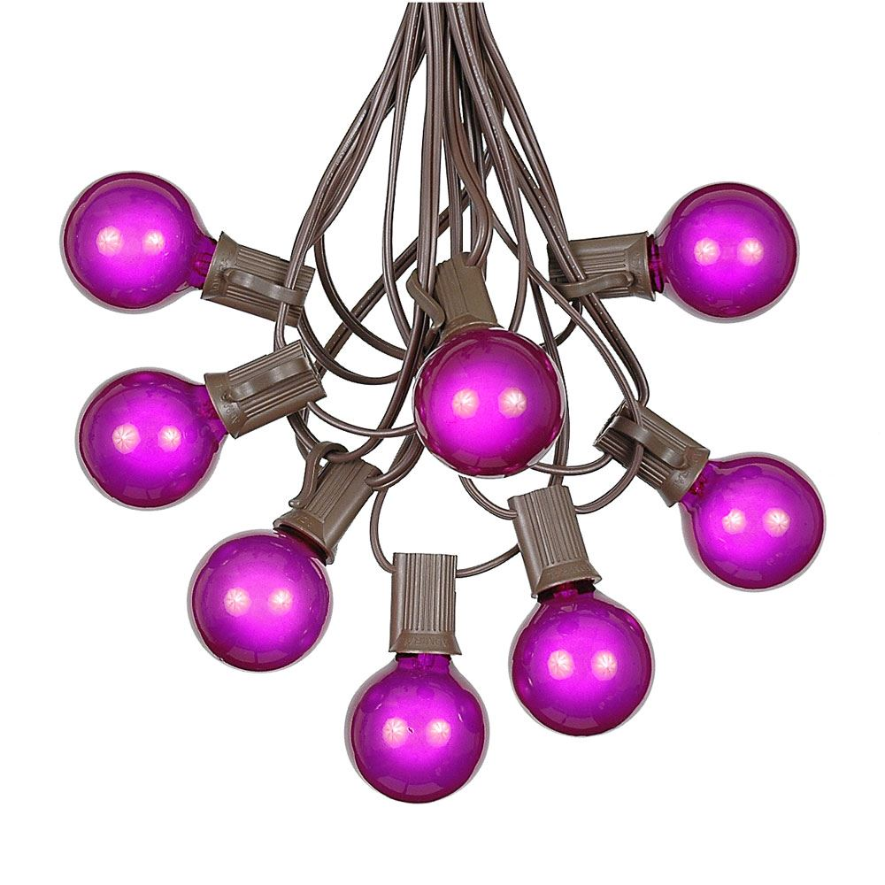 Picture of 100 G40 Globe String Light Set with Purple Bulbs on Brown Wire
