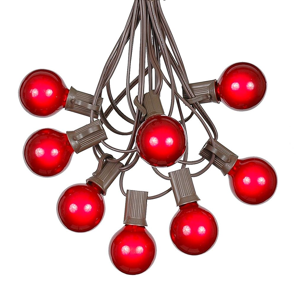 100 Red G40 Globe/Round Outdoor String Light Set on Brown Wire - Novelty Lights, Inc