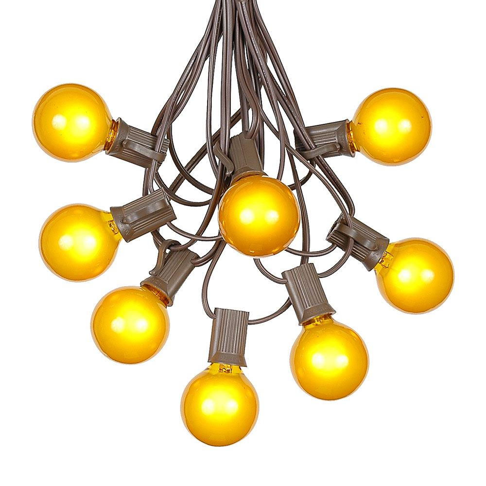 Yellow Led String Lights : 100 Yellow G40 Globe/Round Outdoor String Light Set on Brown Wire - Novelty Lights, Inc