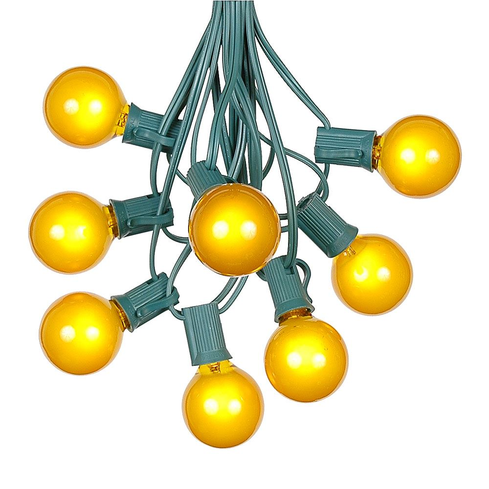 Picture of 100 G40 Globe String Light Set with Yellow Bulbs on Green Wire
