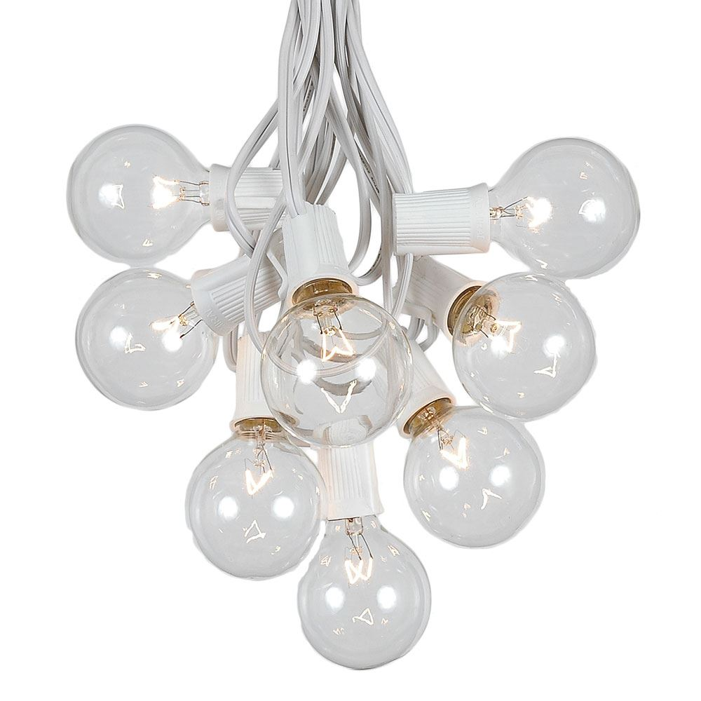 Picture of 100 G50 Globe Light String Set with Clear Bulbs on White Wire