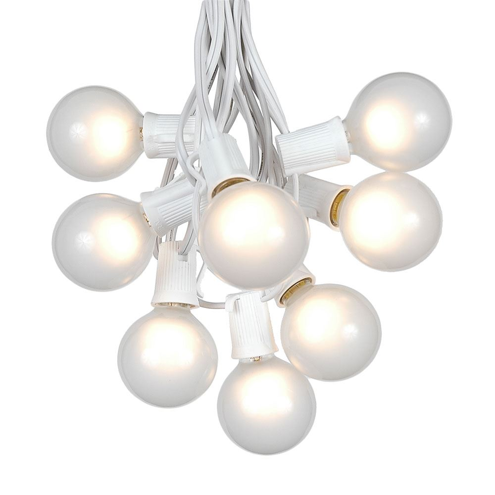 Clear Globe String Lights White Wire : 100 Frosted White G50 Globe String Light Set on White Wire - Novelty Lights - Inc