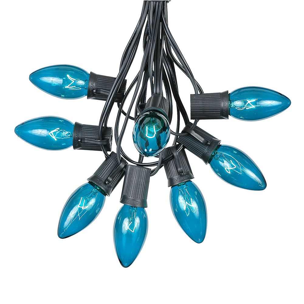 Picture of C9 25 Light String Set with Teal Bulbs on Black Wire